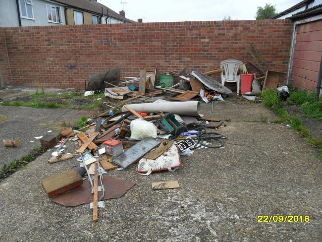 Howard and Ashley Levene were photographed dumping the waste, pictured, in Wetherby Road, Borehamwood