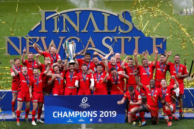 Saracens celebrate their Champions Cup triumph. Picture: Action Images