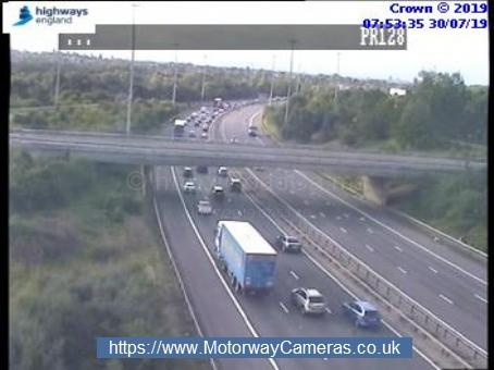 towards the end of the queue on the M1 southbound between j4 and j2. Photo: Highways England