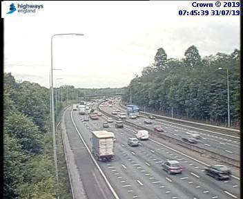 Slow traffic on M25 around Watford heading anticlockwise