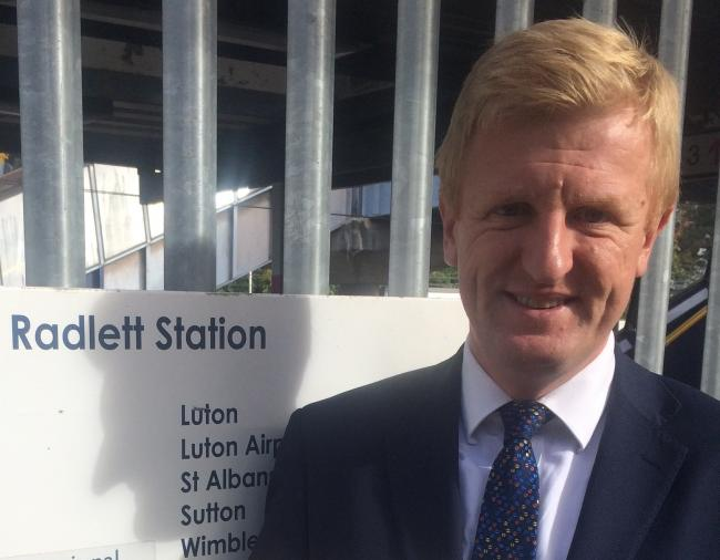Oliver Dowden MP pictured outside Radlett station