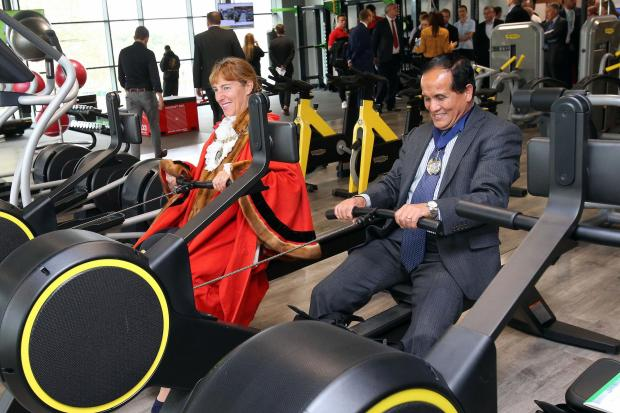 Times Series: Mayor of Barnet Caroline Stock and Deputy Mayor Lachhya Gurung try out the rowing machines