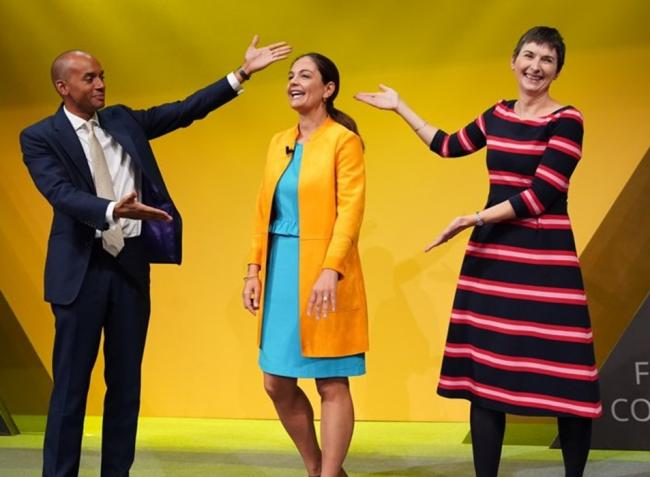 New Lib Dem MP Chuka Umunna and London Assembly member Caroline Pidgeon celebrate mayoral candidate Siobhan Benita (centre) at party conference (Photo: London Lib Dems).