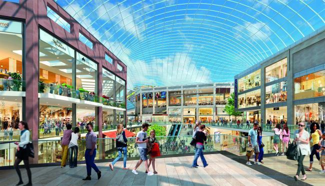 An artist's impression of the original plan for the shopping centre
