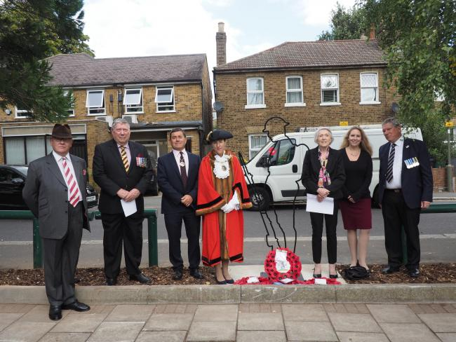From left to right: Martin Russell, Deputy Lieutenant of Greater London; Major (Ret'd) Derrick Harwood MBE – Middlesex Regimental Association; Mayor's Consort Dr Richard Stock; the Worshipful Mayor of Barnet, Councillor Caroline Stock; I