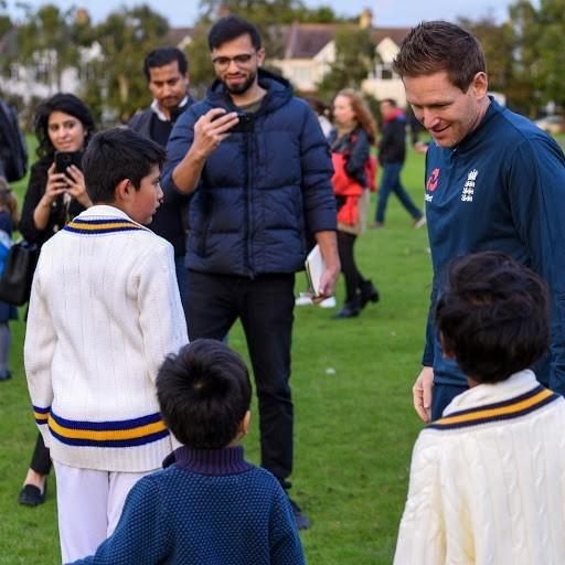 England cricketer Eoin Morgan paid a visit to Finchley Cricket Club last week. Picture: Mikesh Nandha
