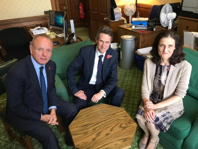 Mike Freer (left) Gavin Williamson (middle) and Theresa Villiers (right)