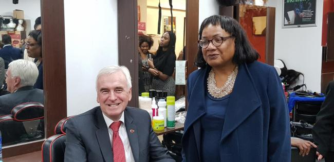 John McDonnell and Diane Abbott at Bruce's Barber shop last night