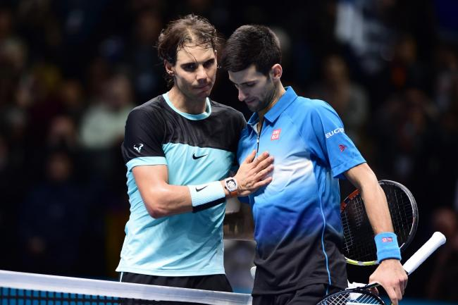 Rafael Nadal, left, and Novak Djokovic are competing for world number one at the O2 Arena