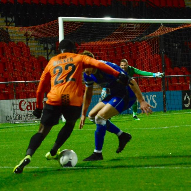 Josh Walker was twice thwarted by Stockport County keeper Ben Hinchcliffe as Barnet were defeated on Saturday. Picture: Len Kerswill