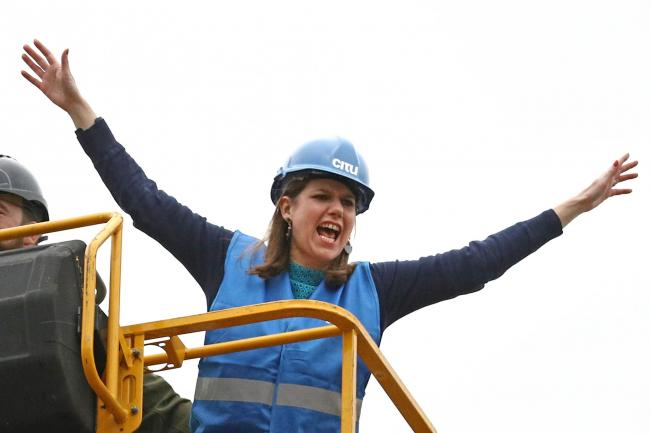 Liberal Democrat leader Jo Swinson on a cherry picker during a visit to an eco home building site in Sheffield