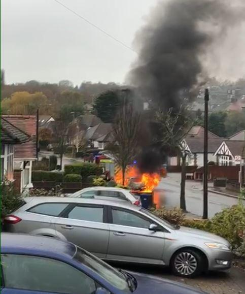 The car on fire in Barnet this morning