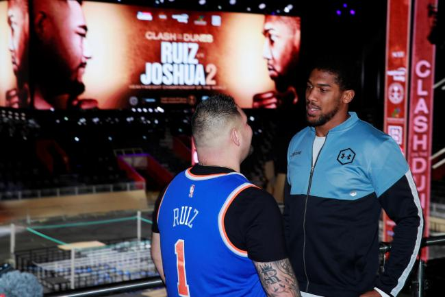 Boxing - Andy Ruiz Jr & Anthony Joshua Press Conference - Diriyah, Saudi Arabia - December 4, 2019   Andy Ruiz Jr and Anthony Joshua after the press conference   Action Images via Reuters/Andrew Couldridge