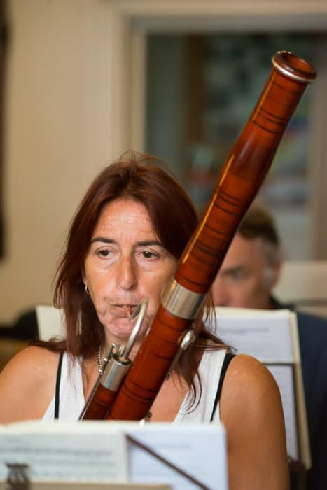 Francesca playing the bassoon that was stolen from her home