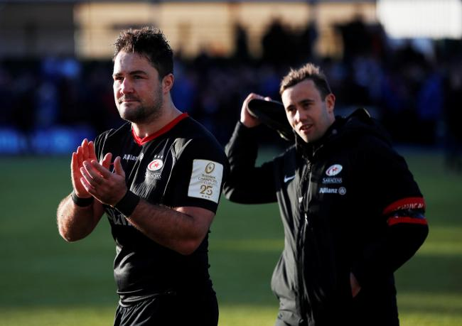 Brad Barritt applauds the fans after full-time. Picture: Action Images