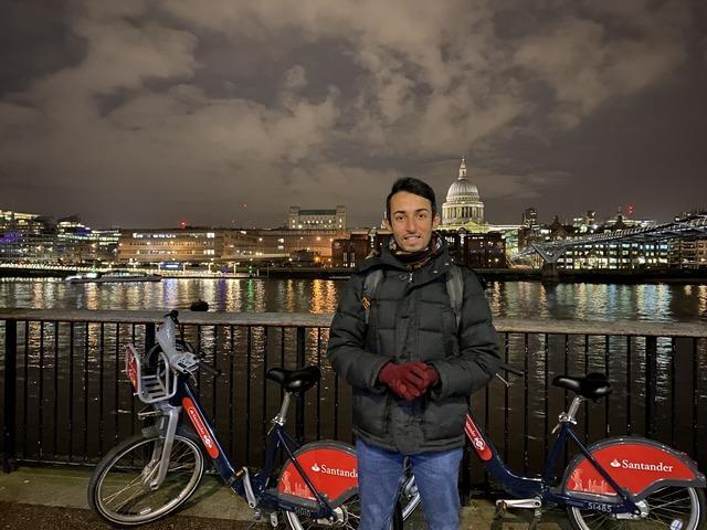Sakhr Al-Makhadi is the first winner of TfL's monthly competition to celebrate 10 years of Santander cycles (Photo: Sakhr Al-Makhadi).