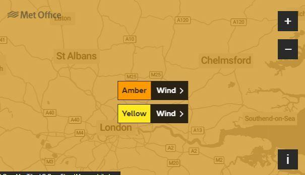 An amber weather warning is in place. Credit: Met Office