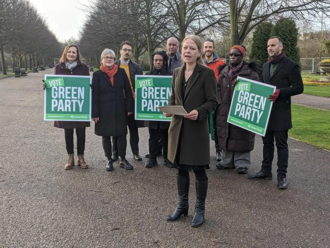 Green party co-leader Sian Berry launched her mayoral campaign in Regent's Park today (Photo: Jessie Mathewson)