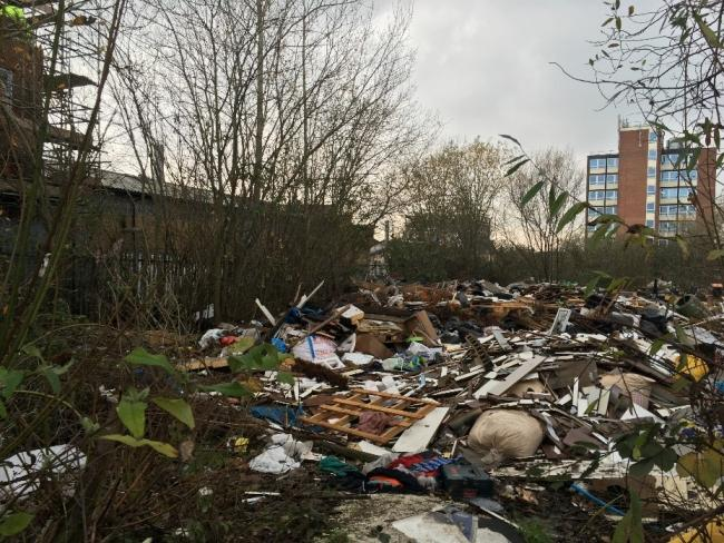 The rubbish dumped at the former industrial site