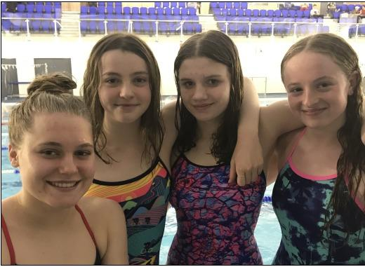Left to right: Fleur Lewis, Jo Hobsley, Jess Arundale and Sophie Murray of Barnet Copthall Swimming Club have qualified for the Olympic trials.