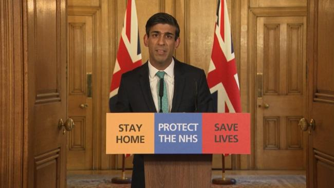Chancellor Rishi Sunak speaks during a media briefing in Downing Street, London, on coronavirus (COVID-19). PA Photo. Picture date: Thursday March 26, 2020. See PA story HEALTH Coronavirus. Photo credit should read: PA Video/PA Wire