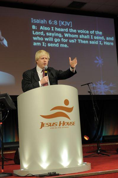 Attacked:  Mayor of London Boris Johnson at Jesus House in Brent Cross