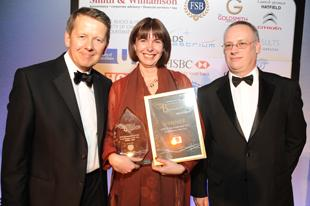 ANLP winner Karen Moxom with FSB's Damian Cummins (right) and TV presenter Bill Turnbull (left)
