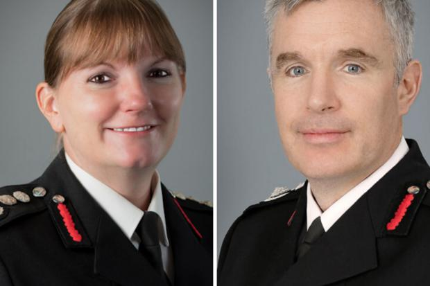 Times Series: Dany Cotton (left) down was replaced by Andy Roe (right) as fire chief this year (Photo: LFB).
