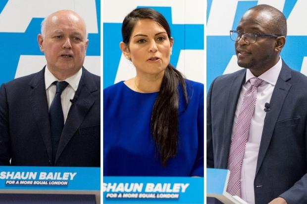 Times Series: Iain Duncan Smith (left), Priti Patel (centre) and Duwayne Brooks were at the CSJ event to support Mr Bailey (Photos: Shaun Bailey / Twitter)