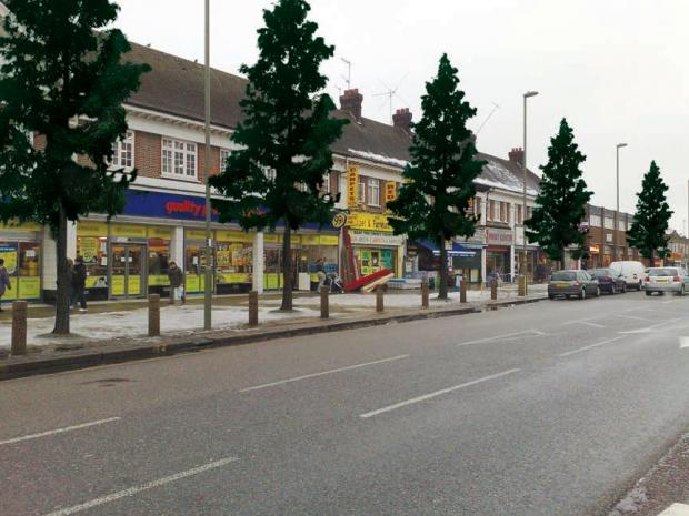 An artists' impression of what the trees will look like along Burnt Oak Broadway