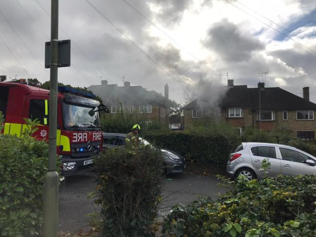 Firefighters at the scene of a maisonette fire in New Barnet. Photo: London Fire Brigade