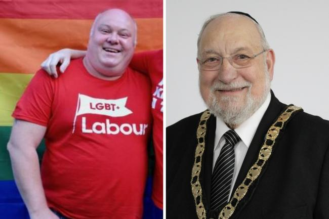 Pictured left is Labour councillor Christian Gray, and right is new mayor and Conservative councillor Rabbi Alan Plancey
