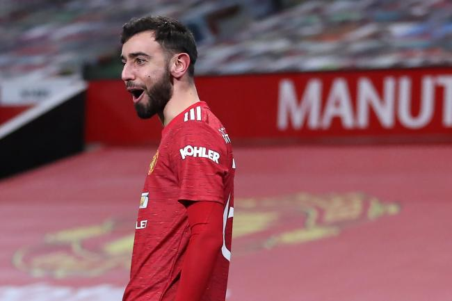 Manchester United's Bruno Fernandes celebrates scoring the winner against Liverpool