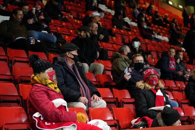 Charlton fans in the stands at The Valley