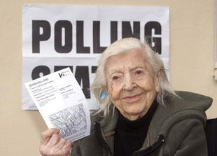 Margaret Carter at the polling station in May last year