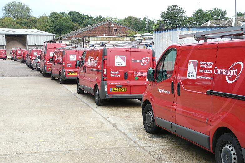 Vans parked outside the council depot in Mill Hill