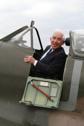 Squadron Leader Franciszek Kornicki is reunited with his old spitfire