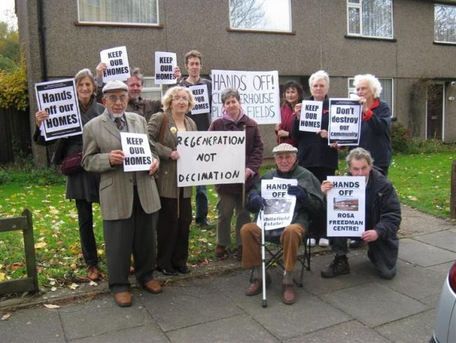 Leonard Cole (sitting) and Olive Lupkowski (far right) with other residents and members of the Brent Cross Cricklewood Coalition
