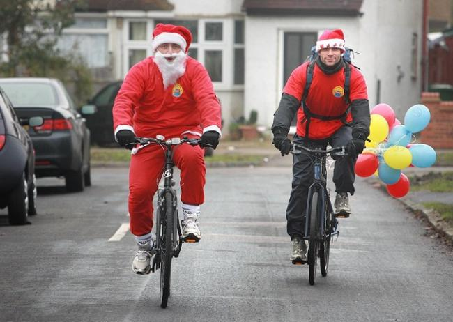Santa cycles for charity