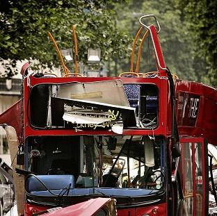 The top deck of the Tavistock Square bus was destroyed by the bomb