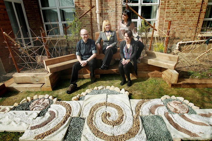 The new garden was opened yesterday with (L-R) artist Alistair Lambert, Cllr Lisa Rutter, headteacher Athy Demetriades and artist Andrea Tyrimos.