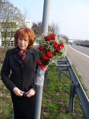 Erica Duggan at the spot where her son was killed in Germany eight years ago