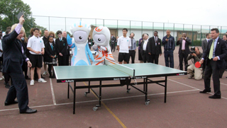 Boris Johnson and Lord Coe battle it out playing table tennis