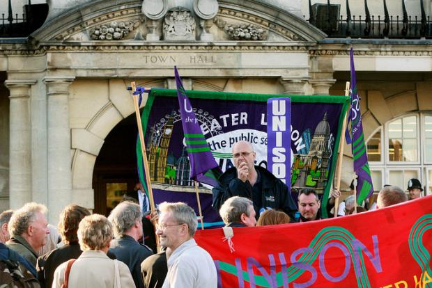 Unison Branch Secretary John Burgess outside Hendon Town Hall