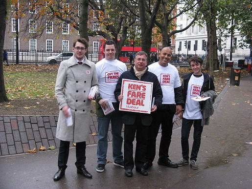 Andrew Dismore (centre) campaigns for Ken Livingstone's plans to cut bus tube and train fares
