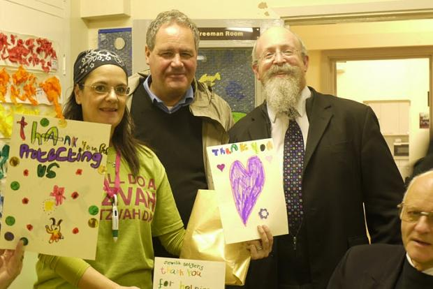 Juliet Schneiderman, Bob Blackman MP and Rabbi Mendel Lew