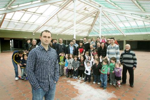 Etz Chaim chairman of governors, Adam Dawson with parents and pupils