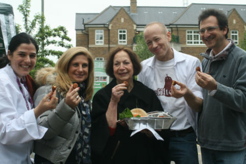 L-R: Chef Tarryn Klotnick, LJCC chief exec Louise Jacobs, founding patron Claudia Roden, director Michael Leventhal and JCC for London chief exec Nick Viner
