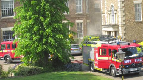 Fire engines at scene in Princess Park Manor