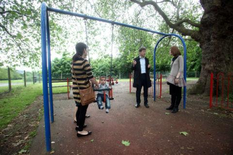 Tory MP Matthew Offord met with parents at the park last week